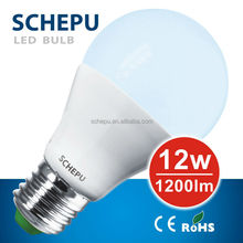 Schepu LED bulb 12watt, A65, E27, cool white, standard shape, body: aluminium coated by plastic