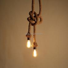 2 lights Loft American retro style vintage industrial rattan pendant light lamp with Hemp Rope