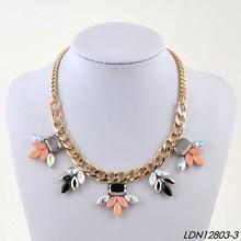 Gold grow chain crystal quartz collar fashion flower crystal collar