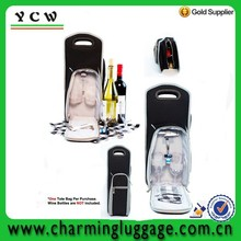 Multiple Zippers And Pockets 7 Pcs Wine Carrier Tote Bag Insulated Wine Bottle Holder Picnic Set