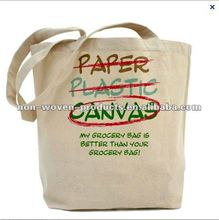 2012 Hot Selling unbleached cotton Natural Canvas Bags