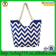 2015 Wholesale China Factory chevron rope handle tote canvas beach bag
