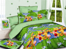 2015 lovely animal cartoon pattern twin size 100% twill cotton kids comforter set