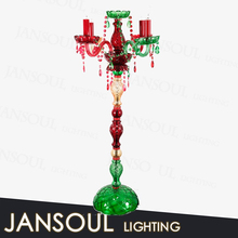 2015 european style antique modern red multi color glass crystal candelabra table lamp art deco light