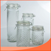 set 4pcs of glass mason/glass storage jar bottle with clamp lid