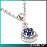 925 Silver Women's Blue Glass Stone Flower Shape Pendant with Zircon