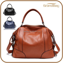 Trendy Fashion Genuine Leather Designer Hand Bag Zip Closure School Shoulder Bag Durable Promotional Women's Bag