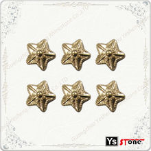 Wholesale gold star hot fix loose metal stud for clothing