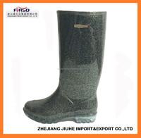 Cheap and Simple Design Glitter PVC Rain Boot for Women