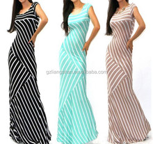 Cheap China OEM Rayon & Spandex Asymmetric Mixed Stripe Fitted Jersey Knit Flare Long Summer Maxi Dress SML