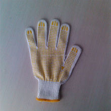 pvc dotted working glove/string knit gloves with yellow pvc dots