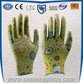 Seeway 13 guage poliéster tejido mujeres guantes de jardinería