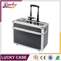 Black Aluminium Trolley Pilot Case with Wheels