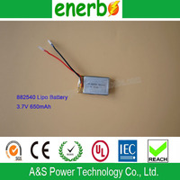 Hot Sell Li-Ion Battery 7.4V 650mAh battery pack, 3.7V 650mAh 852540 single cell with Factory Price