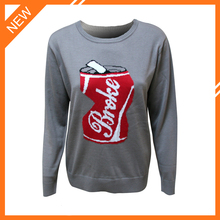 Jacquard crewneck long sleeve cotton pullover sweater men