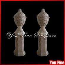 Hand Carved Polished Antique Natural Marble Urns