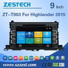 For toyota highlander car dvd gps navigation system 2015 dual zone, dual-core A8 Chipest