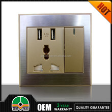 silver cover double port with 13a extension wall plug adapter usb socket and switch