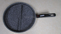 Aluminum pressed marble stone coating 2 two divided frying grill pan pancake detachable removeable handle