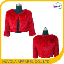 New design hand knitted women genuine rabbit fur vest