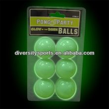Glow In Dark Beer Pong Balls Plastic balls Table Tennis Ball 6pk Night Club Best Sell