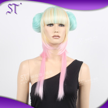 2015 newest design cute high quality colorful layered synthetic cosplay wigs