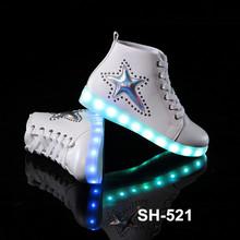 New model 2016 pu led bettery charge women's fashion sports flat shoes wholesale star pattern