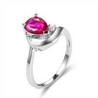 Pear Shape Pink Amethyst Silver Over Cooper Ring