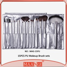 MAANGE 15 piece wood handle synthetic hair new design makeup brush with pu bag