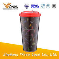 Colorful paper double wall plastic cup,paper plastic mug