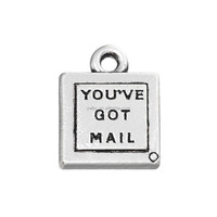 "Zinc Alloy ""You've Got Mail ""Carved Antique Silver Charm ,Free Shipping Flat Charm"