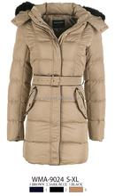 Glo-stroy 2015 lastest long padded jacket for women with waist belt, fur hood, metal zipper