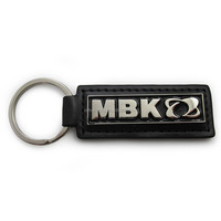 promotional geniune black color leather logo keychain