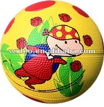 children palying rubber basketball toy ball