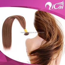 2015 Qicai hair top quality 100% human hair pre-bonded Nail tip/U Tip hair extension all colors