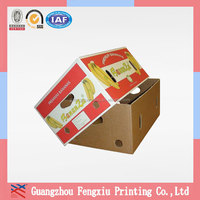 Custom Printed Separate Lid 5 Ply Corrugated Banana Carton Box