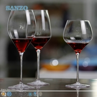 SANZO Handmade clear wine glass with silver painting effects