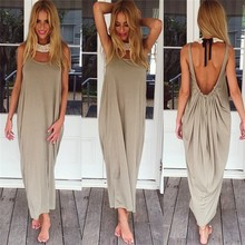 New Fashion Summer Cotton Boho Loose Long Dress Women's Sexy Backless Long Dress 2015 Brown Sleeveless Beach Dresses