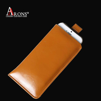 Brown leather phone pouch leather case for nokia xl