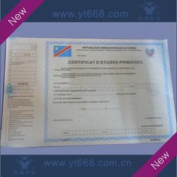 UV logo and fiber printing certificate