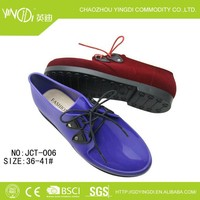 2015 Most popular stylish women's flat leather shoes PVC outside non-slip shoes