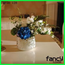 New design table and wedding decoration artificial flower arrangements silk flower blue orchids arrangement for sale