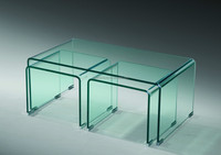 small simple fashionable crystal surface hot bent curved tempered clear glass side table or coffee table SN-B74