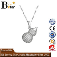 New Europe Necklace Gourd Pendant Charms Fashion, Micro Pave Setting 925 Silver Pendant