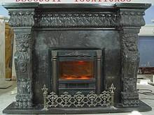 Polished cast iron fireplace for house decoration