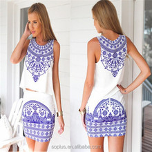 2015 Hot Sale Fashion European And American Style White Sleeve Porcelain Printed Slim Dress Women Set China