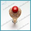 Moda anel de gemstone, anel de turquesa atacado