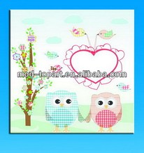 bright color owl on wall art