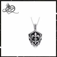 Men's Stainless Steel Fleur Des Lis Shield Pendant Necklace