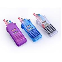 Colorful Solar Power Pencial Case Calculator, Ball Pen with Calculator